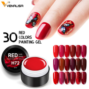2020 New Nail Art Semi Permanent Enamels Red Color Glitter UV Gel MaNail Polish Sequins Nail Gel Varnish Lacquer