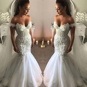 2020 New Sexy Alças Vestidos de casamento da sereia luxuosa do laço vestidos de noiva com cristais Sweep Trem Backless Plus Size Praia vestido de casamento
