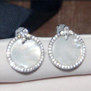 Luxus pur 925 Sterling Silber Zirkon Stein Perlmutt Ohrringe Designer 18 Karat vergoldet Frauen Designer Party Schmuck