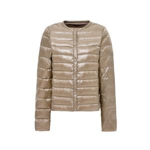 2019 Yeni Ultra hafif Kadınlar Down Jacket Kış Yuvarlak Yaka Protable Ceketler Ördek Coat