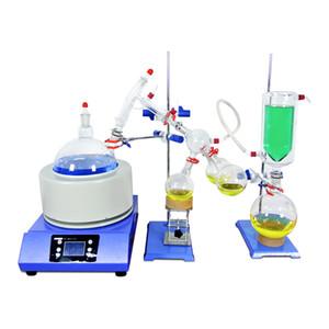 ZOIBKD Equipamentos de Laboratório 2000 mL / 2L caminho curto Destilação Kit 110V / 220V com armadilha Termômetro Digital / manta de aquecimento / Frio