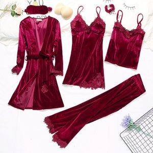 2019 Gold Velvet Robe & Gown Sets 3-6 Pieces Warm Winter Pajamas Sets Women Sexy Lace Robe Pajamas Sleepwear Nightwear Homewear CX200606