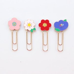 Domikee 2020 new cute kawaii candy flora design office school metal paper clips bookmark student memo clips stationery supplies
