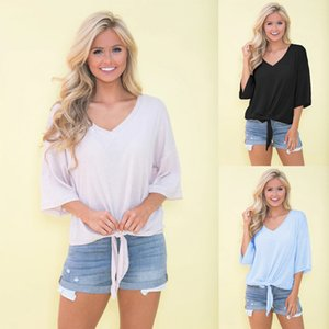 Women Sexy Tshirts Casual Half Length Sleeves Tops Female Summer Loose Fit Thin V Neck Pullover