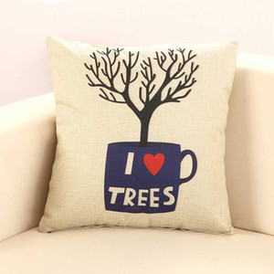 Cup Tree Patterns Decorative Pillowcases Cotton And Linen Throw Pillow Case Pillowcase Kussensloop