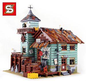 S 브랜드 (1147)와 레고 도시의 스트리트 뷰 (Street View) 어부의 오두막 16050 계몽 빌딩 블록을 조립 건물