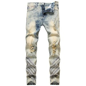 Light Blue Retro Jeans Männer Tide Nationale Sylish gestickte Ripped Gerade Stretch Jeans gewaschene Hosen Weinlese