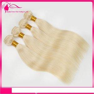 Русский блондинку человеческих волос Weave Pure Color # 613 Платина Bleach Blonde 4шт 9А России шелковистой прямой человеческих волос Weave Связки