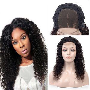 Indische lockige Perücken für schwarze Frauen 180% Dichte Jungfrau Menschenhaar 4x4 Schließung Spitzefrontseitenperücke Indische Remy Haarperücken Beste Großhandelsverkäufer