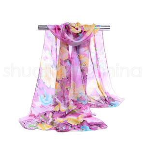 Criativa Mulheres Chiffon Impressão Scarf moda de luxo Peony Flower Pattern Originalidade Lenços Lady Retro Praia Xailes TTA1225-14