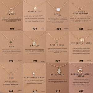 LQL 12 Styles Dogeared choker Necklaces With card Gold Circle Elephant Pearl Love Wings Cross Key Pendant Necklace For Fashion women Jewelry