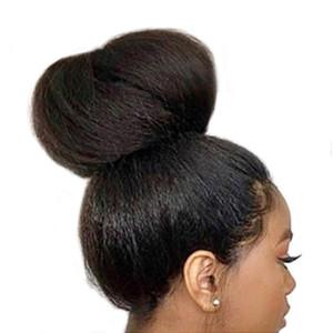 360 Dentelle Frontale Perruques De Cheveux Pré Préplissée Hairline Yaki Droite Full Lace Perruques Perruques Remy Brésiliens Avec Des Cheveux