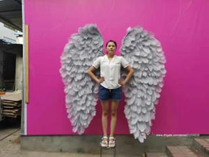 Adultos grandes alas de ángel de alta calidad de color gris avestruz plumas alas de hadas creativas de la pared de la cabecera para matrimonio muestran series