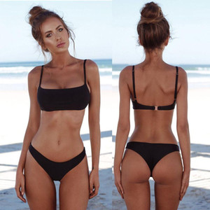 Suit Swimming Suit biquini Women Solid Bikini 2019 New Summer Women Solid Bikini Set Push-up Unpadded Bra Swimsuit Swimwear Triangle Bather
