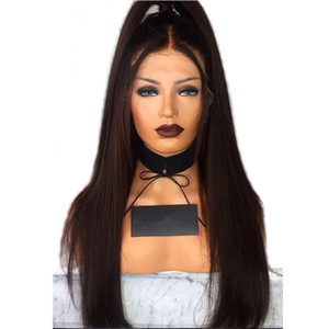Natural Brown Long Silky Straight Full Lace Wigs with Baby Hair Heat Resistant Glueless Synthetic Lace Front Wigs for Black Women