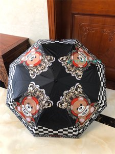 Black Bear Umbrella 3 Renk Siyah Beyaz Karikatür Hayvan Şemsiye Moda Letter Katlama Öğrenci Umbrella yazdır