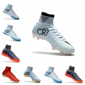 높은 탑 망 축구화 화이트 골드 CR7 축구 cleats Mercurial Superfly FG V 키즈 축구화 Cristiano Ronaldo mens Training Sneakers