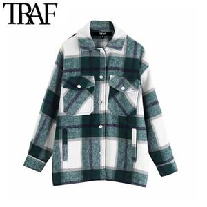 TRAF Las mujeres con estilo de la vendimia de gran tamaño a cuadros capa de la chaqueta de moda collar de la solapa de manga larga bolsillos de prendas de vestir exteriores floja Chic Tops