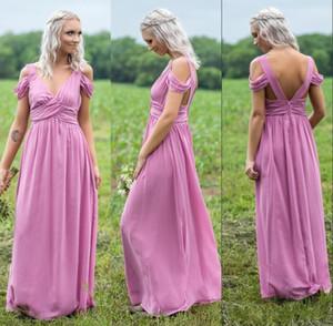 Tiefem V-Ausschnitt Coral Lavender Schulterfrei Chiffon Brautjungfernkleid Lange Trauzeugin Kleid See Blau Lila Hochzeitsgast Kleid BM0664