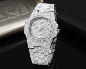 Populares ee.uu. relojes llenos de diamantes a prueba de agua de lujo hombres mujeres relojes de moda de cuarzo relojes de pulsera de acero inoxidable fresco calendario hombres reloj