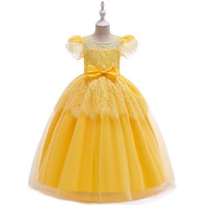 2020 new shelves girls dress small round neck T-shirt sleeve lace fabric bow princess pettiskirt bride's flower girl dress