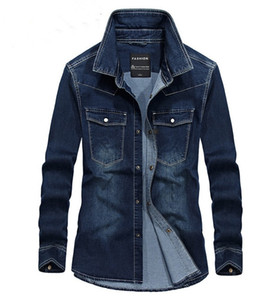 2 цвета Мужские рубашки вскользь с длинным рукавом джинсовой рубашки Открытый Повседневная мода рубашка Сплошной цвет рубашки с длинными рукавами