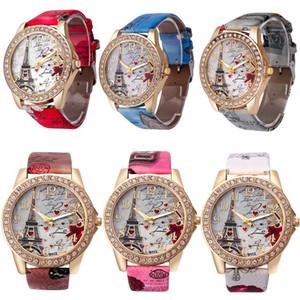 Новый стиль женщин моды часы Красочные Эйфелева башня Любовь Наручные часы для Friend Лучшие подарки 6 Стили для Выберите