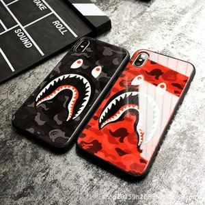 Hot Fashion Camouflage Shark Mouth Luxury Case For iphone XS 11 Pro Max 7 8 Plus X XR Tempered Glass Shockproof Branded Back Cover
