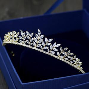 Queenco Zircon Pierre Couronne de mariée femmes Bijoux Accessoires cheveux Couronnes et Diadèmes d'or couleur Bandeau demoiselle d'honneur