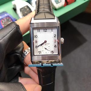 İyi Sürümü Reverso Q3738420 Döndürme Taraflar Dial Otomatik Mekanik Gümüş Vaka Safir Erkek İzle Siyah Deri Kayış Spor Saatleri