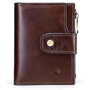 Hombres Smart Anti-Lost Wallet Monedero Bluetooth Posición Registro RFID Estilo retro Gran capacidad TS95
