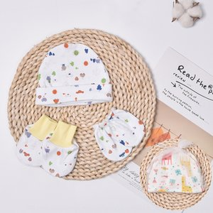 ins newborn cap gloves cap baby high quality knitted cotton baby hat + foot cover socks + gloves gift box