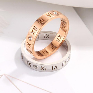 New 18k Rose Gold Silver Diamond Rings Titanium Steel Love Rings Letter Ring Designer Couple Hollow Ring Jewelry Wholesale for Men and Women