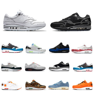 Nike air max 1 airmax 1s shoes Tartan Atmos Work Bleu 1s Hommes Femmes Chaussures de Course 87 Baskets OG Anniversaire Parra Animal Pack Baskets Léopard Sports 36-45