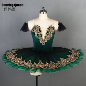 11 tamanhos! Deep Green Velvet corpete tutu de ballet profissional para mulheres meninas Pancake tutu prato para BLL090 bailarina filhos adultos