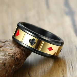 8mm Spinner Stainless Steel Ring Black Color Lucky Playing Card Poker Mens Accessories