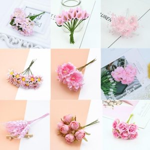 6 10 12pcs Mixed PInk Mini Artificial Plant Flower Cherry Stamen Berries Bundle DIY Christmas Wedding Cake Gift Box Wreath Decor