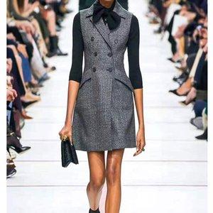 Cosmicchic Women Autumn Vest Dress Sleeveless Female Blazer Dresses Runway Design Office Lady Vest Short Dress Robe Femme