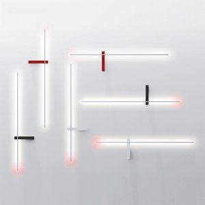 Nórdico minimalista tira larga lámpara de pared de la sala de estar Pasillo arte del hierro creativo Línea Apliques luces de la habitación del cuarto de baño