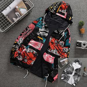 Marka Erkek ceketler Çift taraflı Kapşonlu WINDBREAKER Sweatshirt Tasarımcı Çiçek Baskı Coats Sokak Stili Yüksek Kalite Fermuar Kapüşonlular B100017L