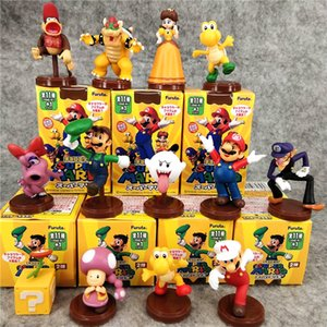 5cm / 2 polegadas 13 estilos Super Mario Cego Box Bros Princesa Daisy Sapo Mario Luigi Yoshi Donkey Kong Cogumelo figuras de ação 13pcs / LA61 set