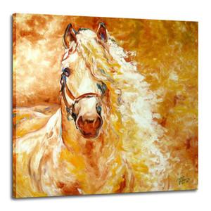 Golden Horse Home Decor pintado à mão HD impressão pintura a óleo sobre tela Wall Art Canvas Pictures 191104