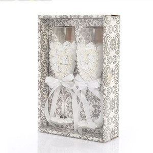 Vetro 2Pcs Set Wedding Fashion tostatura nozze bicchieri di cristallo di Champagne Flutes per gli sposi che beve vino in vetro per L