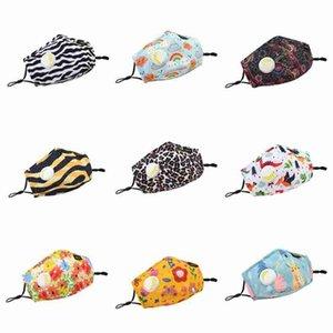Erwachsene und Kinder Gesichtsmasken mit Ventil Cartoon Waschbar wiederverwendbare Baumwollmundmaske Staubdichtes Leopard Masken ZZA2402 150Pcs