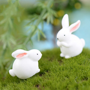 White Rabbit Animal Cartoon Bunny Miniature Fairy Garden Accessori Moss terrario Cactus Succulente Decor piccolo mestiere della resina Materiale fai da te