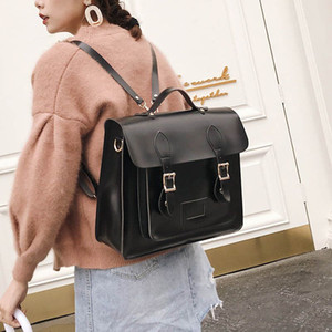leatherluggagetag 2020 new Korean version of the retro college style Cambridge shoulder bag female fashion wild backpack female backpack big