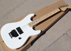 Fabrik-Großverkauf-weiße elektrische Gitarre mit Floyd Rose, Ahorn Griffbrett, schwarzer Hardware, kann als reques angepasst werden