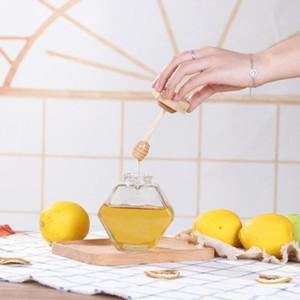 Vetro Miele Jar Per 220ML / 380ml Mini Piccolo Honey Bottiglia Contenitore Pot Con bastone di legno Cucchiaio EEA1353