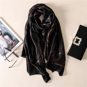 Moda bandana 2017 100% Lenço De Seda De Luxo Mulheres Marca Cachecóis para As Mulheres Xale de Alta Qualidade impressão hijab wrap 180 * 90 CM