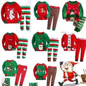 Children Christmas Pajamas Sets Kids Boys Girls Santa 2Pcs Green White Striped Nightwear Pajamas Sleepwear Clothing Sets for 2-8T